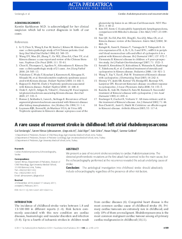 PDF) A rare cause of recurrent stroke in childhood: left