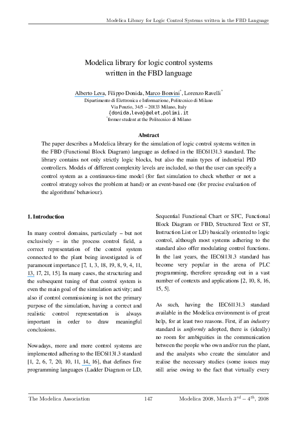 PDF) Modelica library for logic control systems written in the FBD