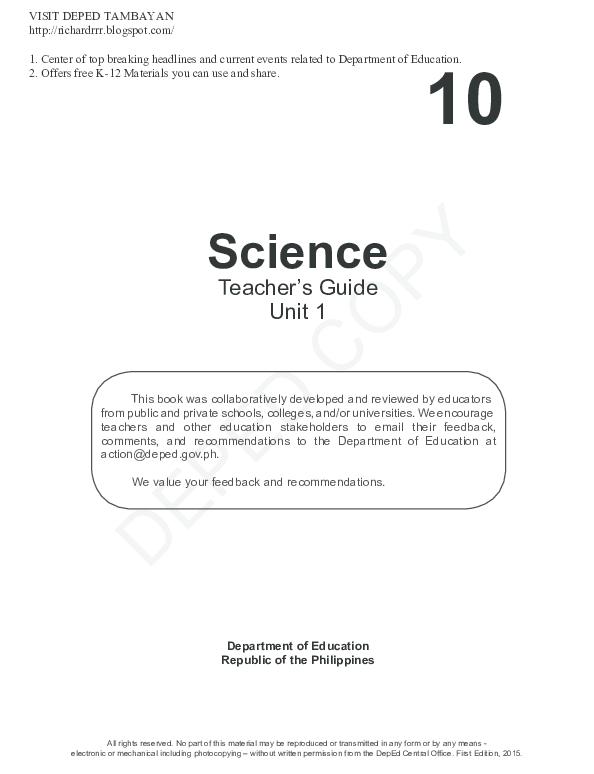 PDF) Teacher's Guide for Grade 10 Science | Wardoh Azarcon