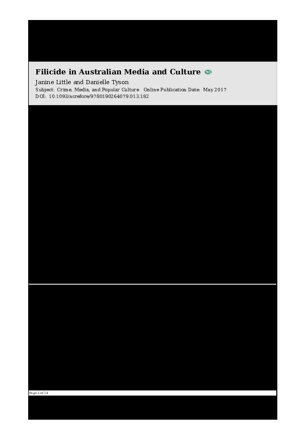 Filicide In Australian Media And Culture Danielle Tyson Academia