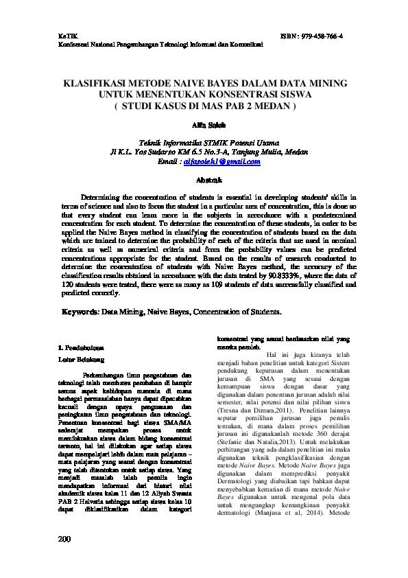 Jurnal Data Mining Metode Klasifikasi Jurnal Indonesia