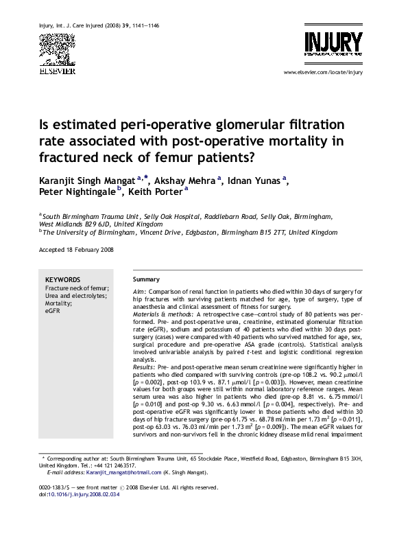 PDF) Is estimated peri-operative glomerular filtration rate