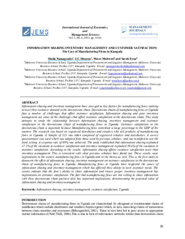 PDF) INFORMATION SHARING INVENTORY MANAGEMENT AND CUSTOMER