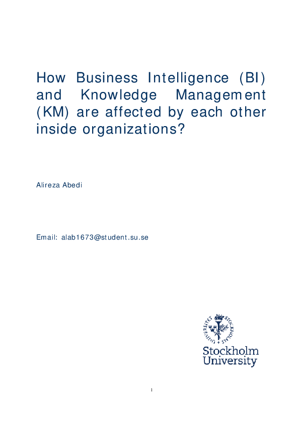PDF) How Business Intelligence (BI) and Knowledge Management
