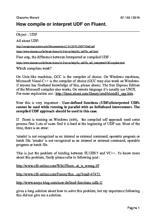 PDF) How compile or interpret UDF on Fluent | giacomo marani
