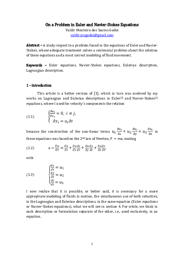 PDF) On a Problem in Euler and Navier-Stokes Equations