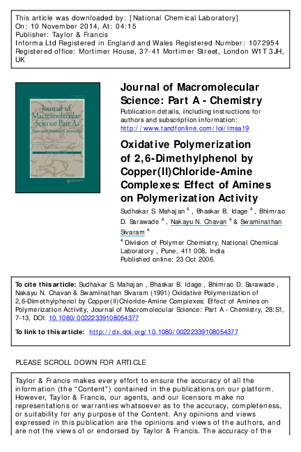 PDF) Oxidative Polymerization of 2,6-Dimethylphenol by