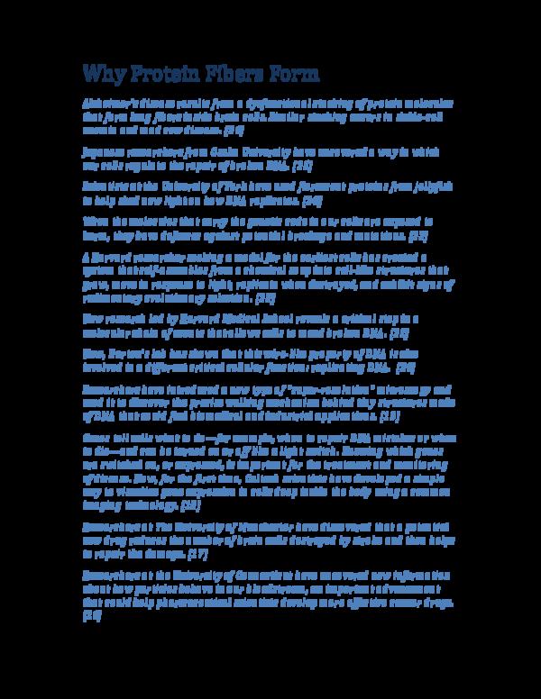 PDF) Why Protein Fibers Form | George Rajna - Academia edu