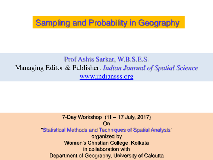 PDF) Sampling and Probability in Geography | Ashis Sarkar