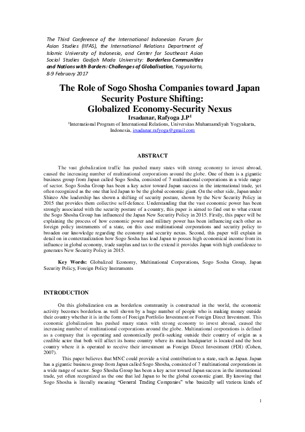 PDF) The Role of Sogo Shosha Companies toward Japan Security