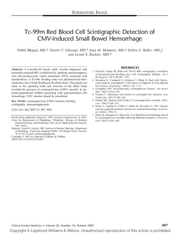 PDF) Tc-99m Red Blood Cell Scintigraphic Detection of CMV