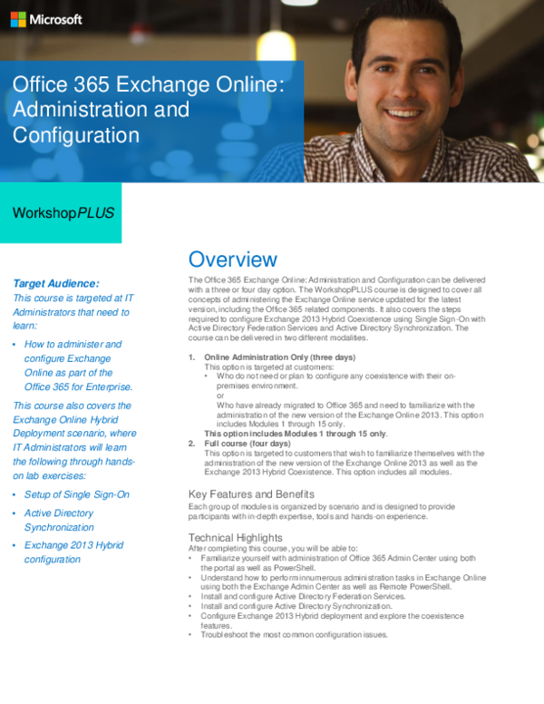 PDF) ENWorkshop Office365 Exchange Online Administration and