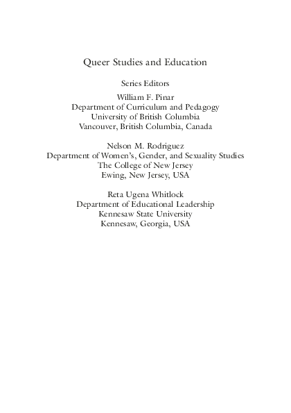 PDF) Critical Concepts in Queer Studies and Education: An
