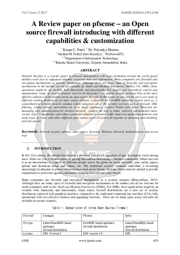 PDF) A Review paper on pfsense – an Open source firewall