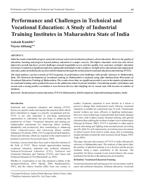 The States Vocational Education Problem >> Pdf Performance And Challenges In Technical And Vocational
