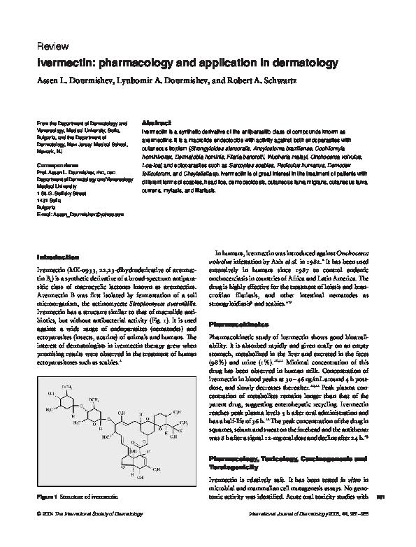 Pdf Ivermectin Pharmacology And Application In Dermatology Assen Dourmishev And Lyubomir A Dourmishev Academia Edu