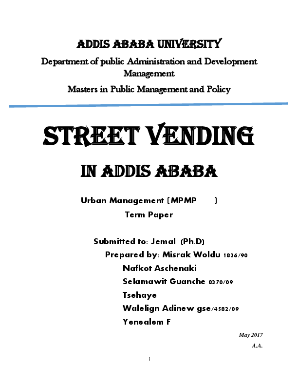 PDF) Street vending in Addis Ababa | Misrak Woldu - Academia edu