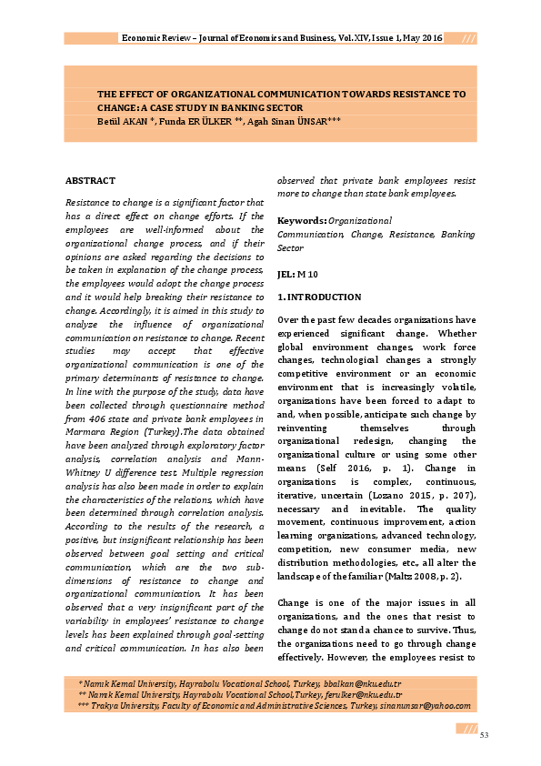PDF) THE EFFECT OF ORGANIZATIONAL COMMUNICATION TOWARDS RESISTANCE