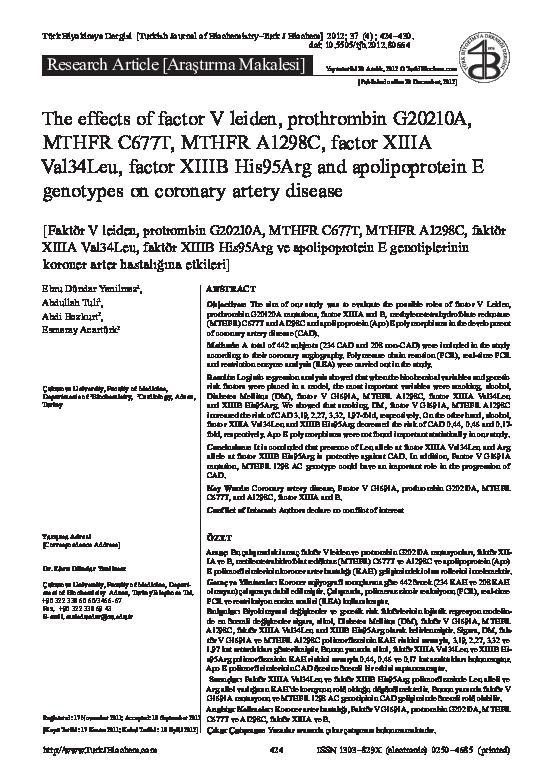 PDF) The effects of factor V leiden, prothrombin G20210A