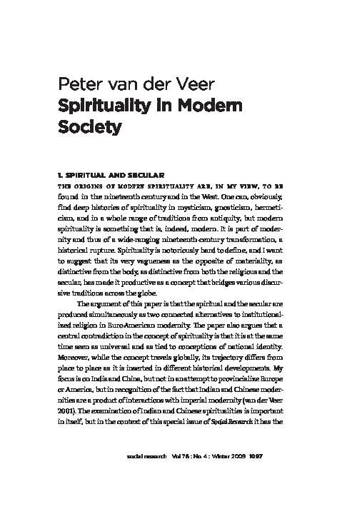 PDF) Spirituality in Modern Society | Peter van der Veer