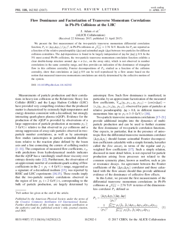 Pdf Flow Dominance And Factorization Of Transverse Momentum