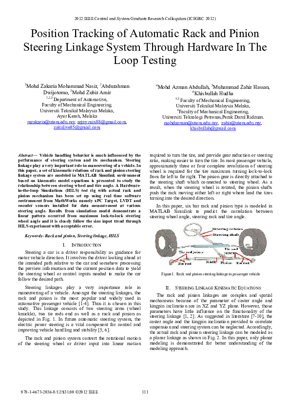 PDF) Position tracking of automatic rack and pinion steering