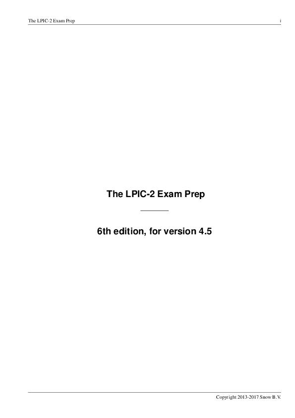 PDF) The LPIC-2 Exam Prep The LPIC-2 Exam Prep 6th edition