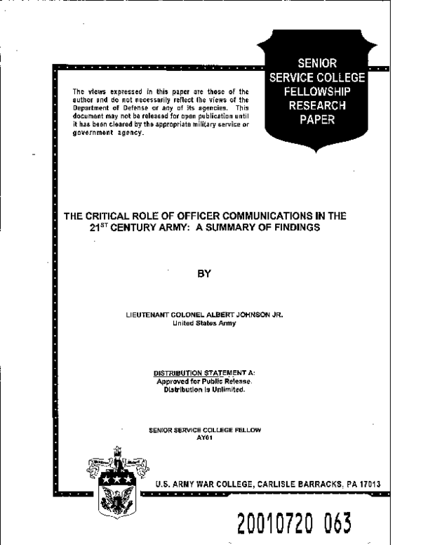 The Critical Role of Officer Communications in the 21st ... on