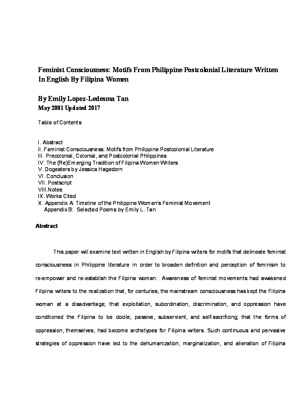 Feminist Consciousness Motifs From Philippine Postcolonial