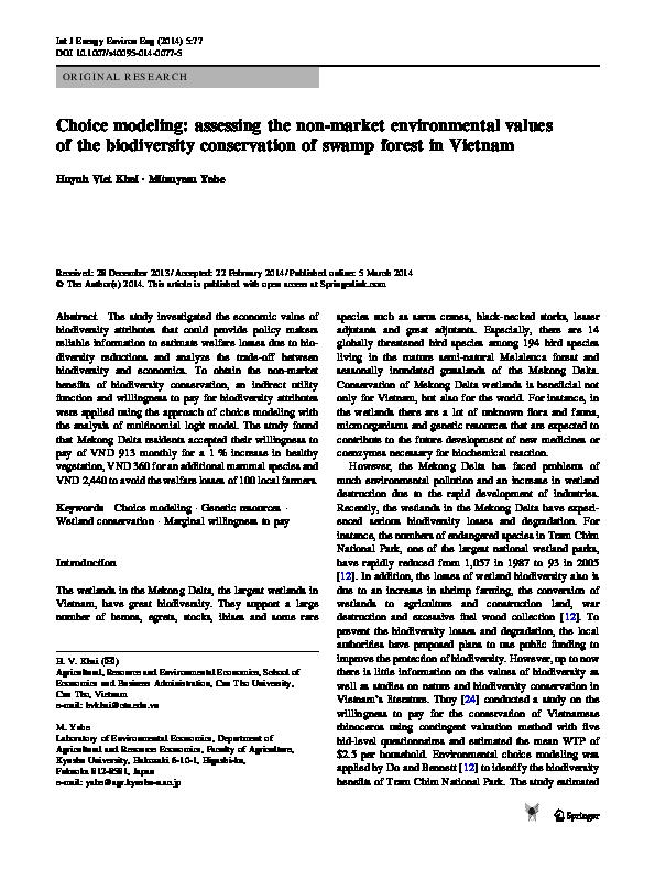 PDF) Choice modeling: assessing the non-market environmental