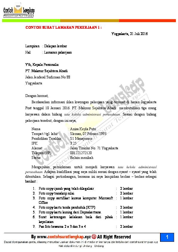 Pdf 20 Contoh Surat Lamaran Kerja Yang Baik Dan Benarpdf