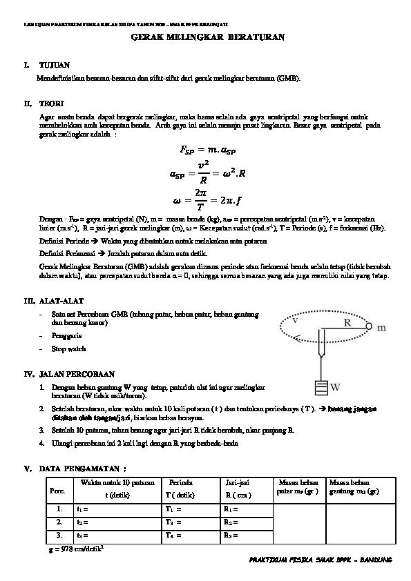 Doc 48968306 Lks Praktikum Fisika Gerak Melingkar Beraturan Docx Rachmawati Rachem Academia Edu