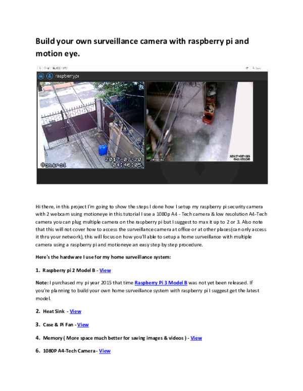 PDF) Build your own surveillance camera with raspberry pi and motion