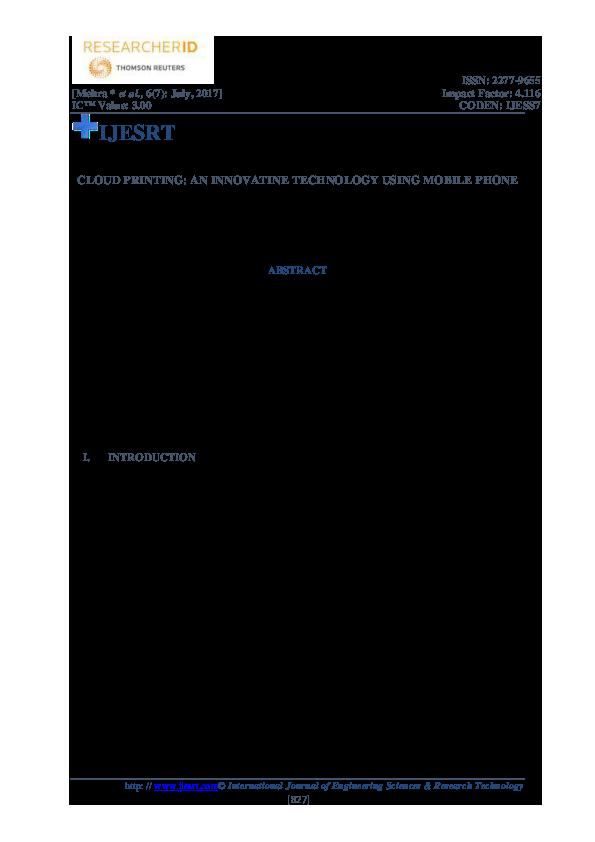 PDF) CLOUD PRINTING: AN INNOVATINE TECHNOLOGY USING MOBILE