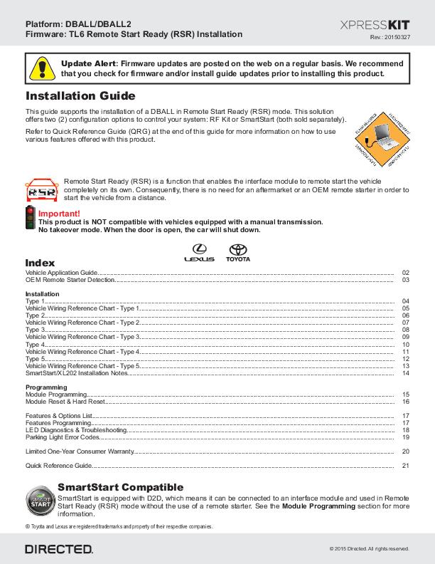 PDF) Platform: DBALL/DBALL2 Firmware: TL6 Remote Start Ready ... on