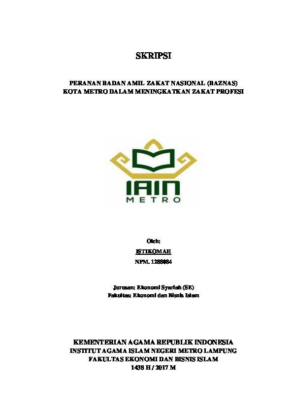 Skripsi Zakat Profesi Pdf Ide Judul Skripsi Universitas