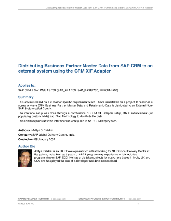 PDF) Distributing Business Partner Master Data from SAP CRM to an