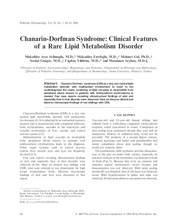 PDF) Chanarin-Dorfman Syndrome: Clinical Features of a Rare Lipid