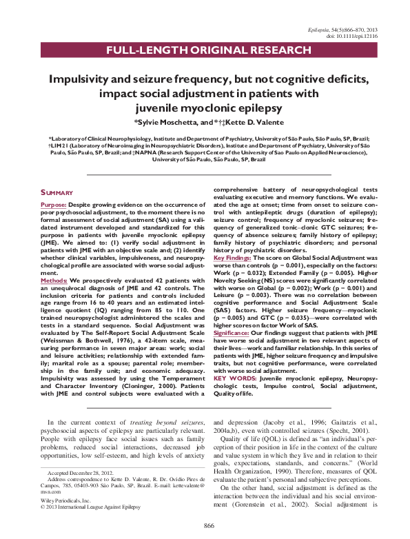 PDF) Impulsivity and seizure frequency, but not cognitive