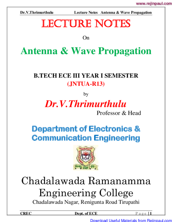 PDF) Lecture Notes Antenna & Wave Propagation B TECH ECE III