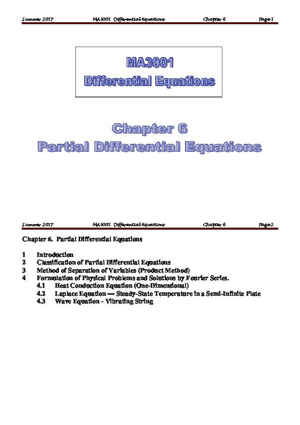 PDF) MA3001 Ch6 Partial Differential Equationspdf1 | MA MAN MAN