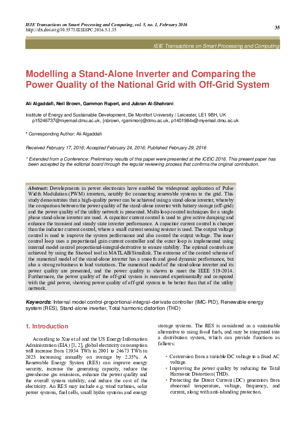PDF) [6]Modelling a Stand-Alone Inverter and Comparing the