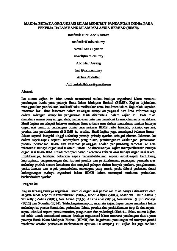 Pdf Makna Budaya Organisasi Islam Menurut Pandangan Dunia Para Pekerja Dalam Bank Islam Malaysia Berhad Bimb Rosfazila Abd Rahman And Alin Lina Academia Edu