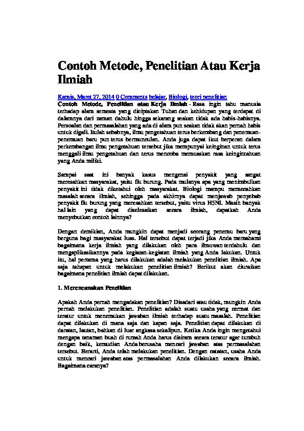 Contoh Penelitian Tentang Biologi Ilmusosial Id