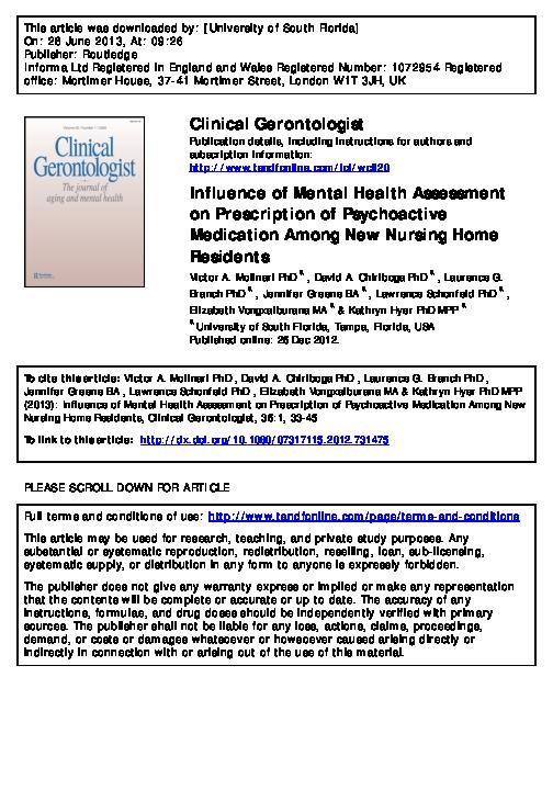 Pdf Influence Of Mental Health Assessment On Prescription Of Psychoactive Medication Among New Nursing Home Residents Victor Molinari Academia Edu