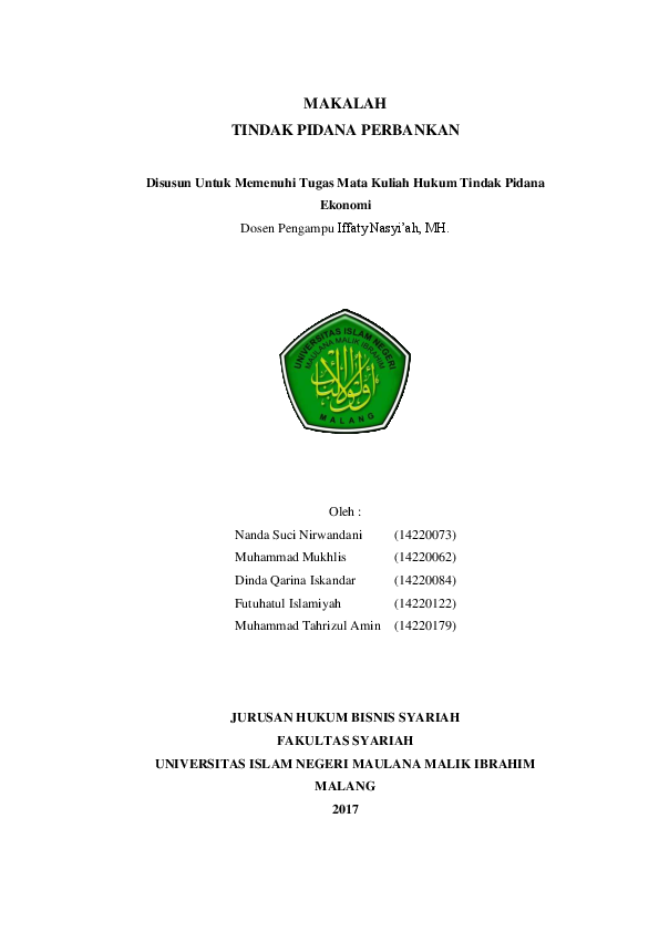 Makalah Tindak Pidana Perbankan Muhammad T Amin Academia Edu