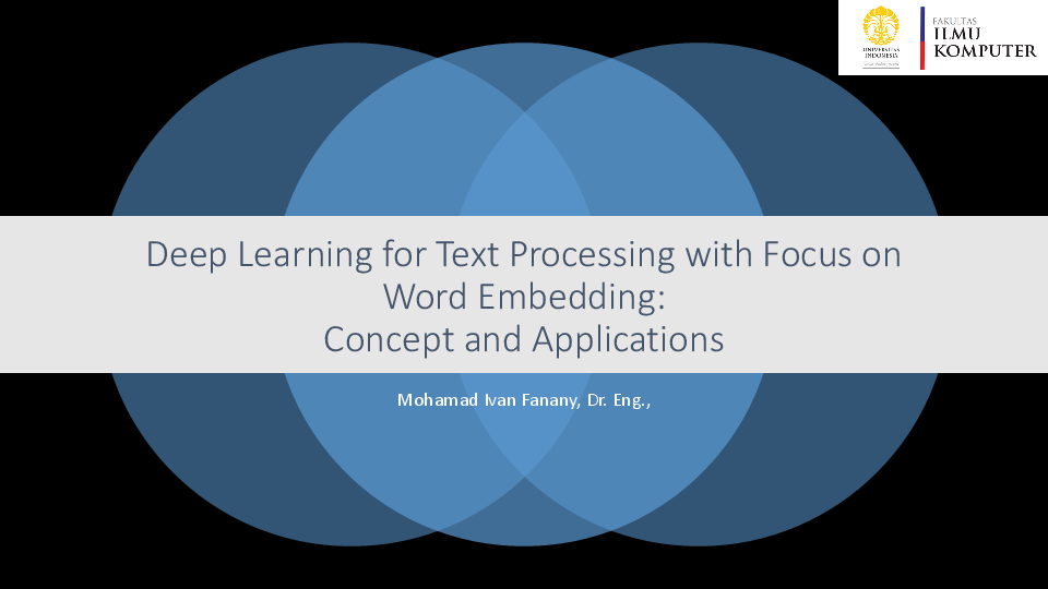 PDF) Deep Learning for Text Processing with Focus on Word Embedding