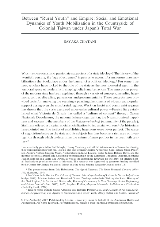 """PDF) """"Between 'Rural Youth' and Empire: Social and Emotional"""