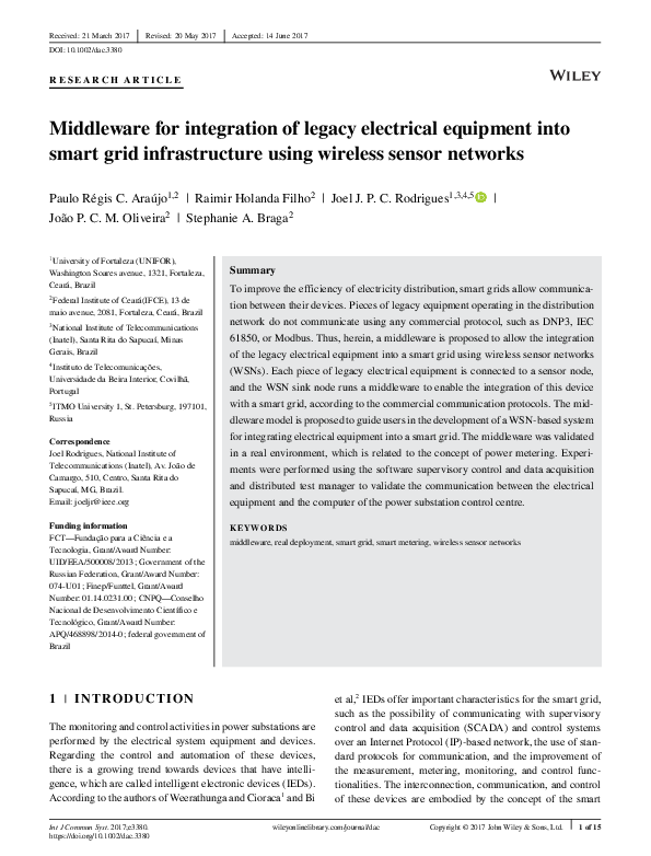 PDF) Middleware for integration of legacy electrical