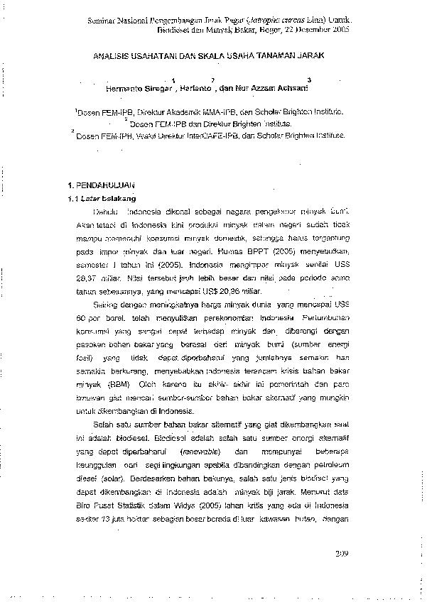 Pdf Analisis Usaha Tani Dan Skala Usaha Tanaman Jarak Noer Achsani Academia Edu